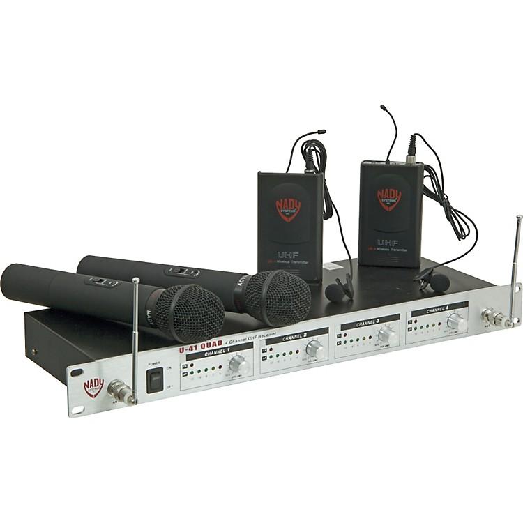 NadyU-41 Quad 2 Handheld 2 Lav Wireless System (14/16/10/12)Black