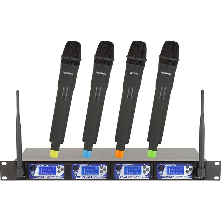VocoPro UHF-5900 4 Microphone Wireless System with Frequency Scan Band 9