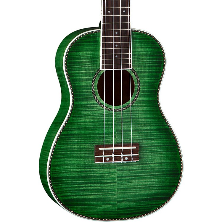 Dean Ukulele Concert Flame Maple Satin Transparent Green