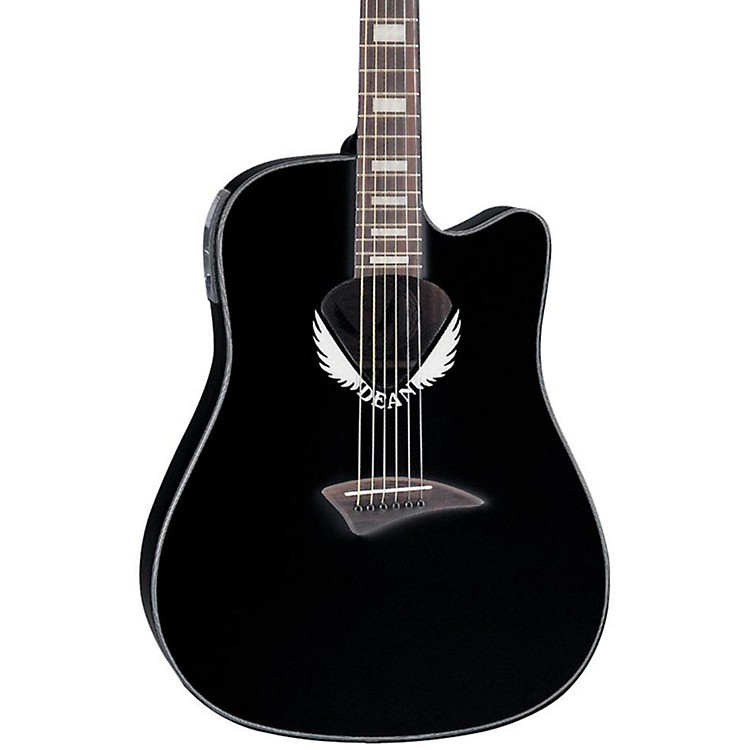 Dean V Wing Cutaway Dreadnought Acoustic-Electric Guitar Black