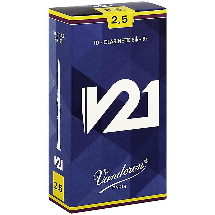 VandorenV21 Bb Clarinet ReedsStrength 2.5 Box of 10