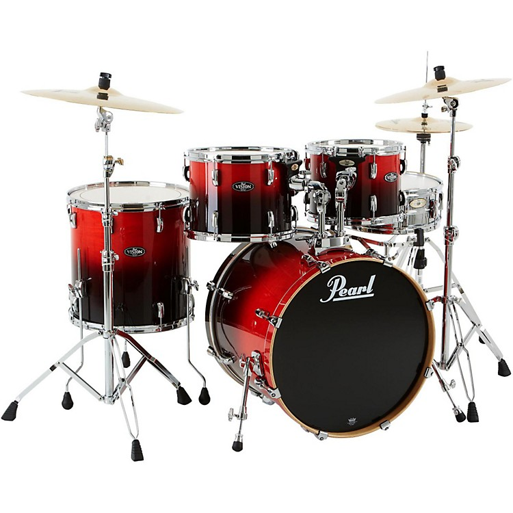 Pearl VBL Vision Birch 5 Piece Shell Pack Ruby Fade with Chrome Hardware