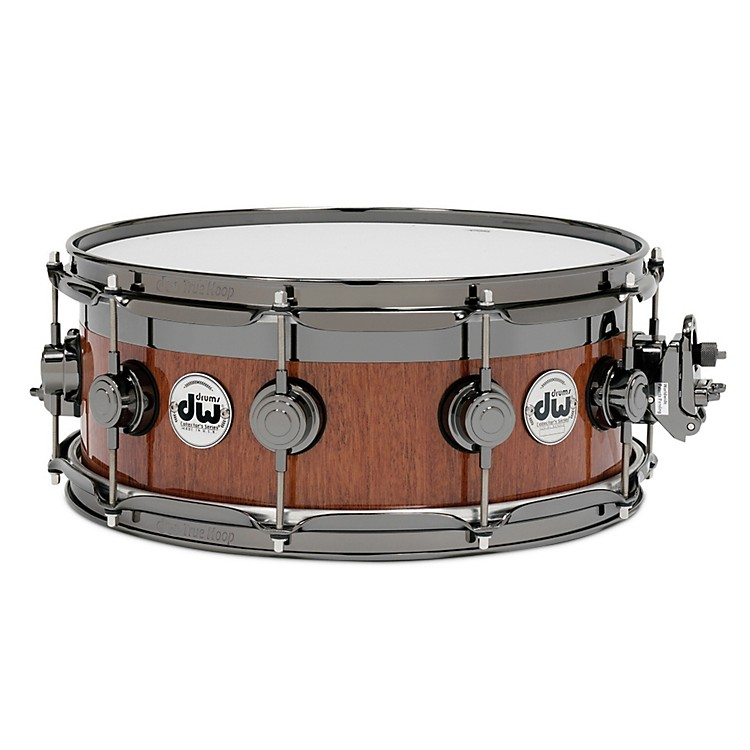 DW VLT Maple Mahogany Top Edge Snare Drum 14 x 6 in. Black Nickel Hardware