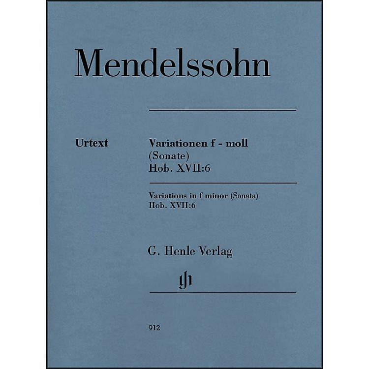 G. Henle Verlag Variations in F Minor (Sonata) Hob. XVII:6 Piano Solo By Haydn