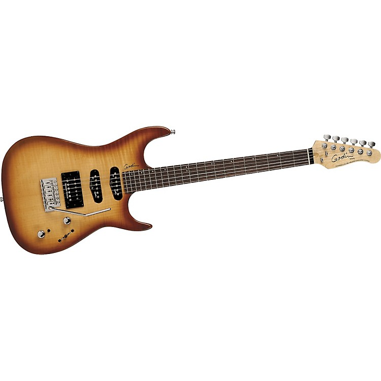Godin Velocity Electric Guitar High Gloss Natural Burst Flame Rosewood Fretboard