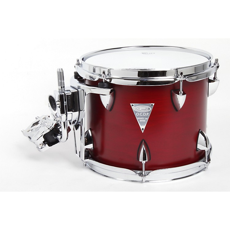 Orange County Drum & Percussion Venice Cherry Wood Tom 8 X 10 Red Transparent Lacquer Finish