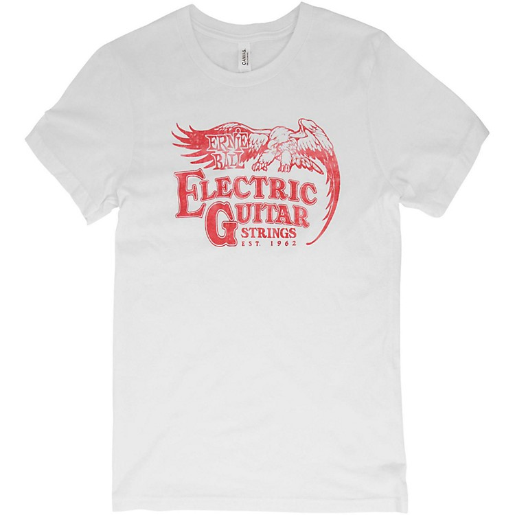 Ernie Ball Vintage Electric Guitar Strings Red Font T-Shirt Small White