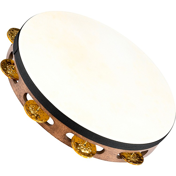 Meinl Vintage Goat-Skin Wood Tambourine One Row Brass Jingles Walnut Brown 10 in.