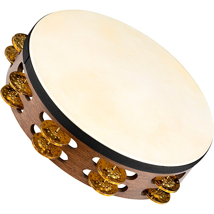 MeinlVintage Goat-Skin Wood Tambourine Two Rows Brass JinglesWalnut Brown10 Inch
