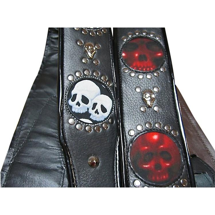 Jodi HeadVoodoo Infinity White Leather with Black Skulls Guitar Strap