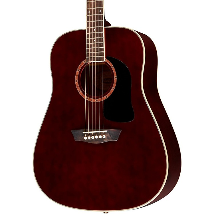 WashburnWD100DL Dreadnought Mahogany Acoustic GuitarTrans Wine Red