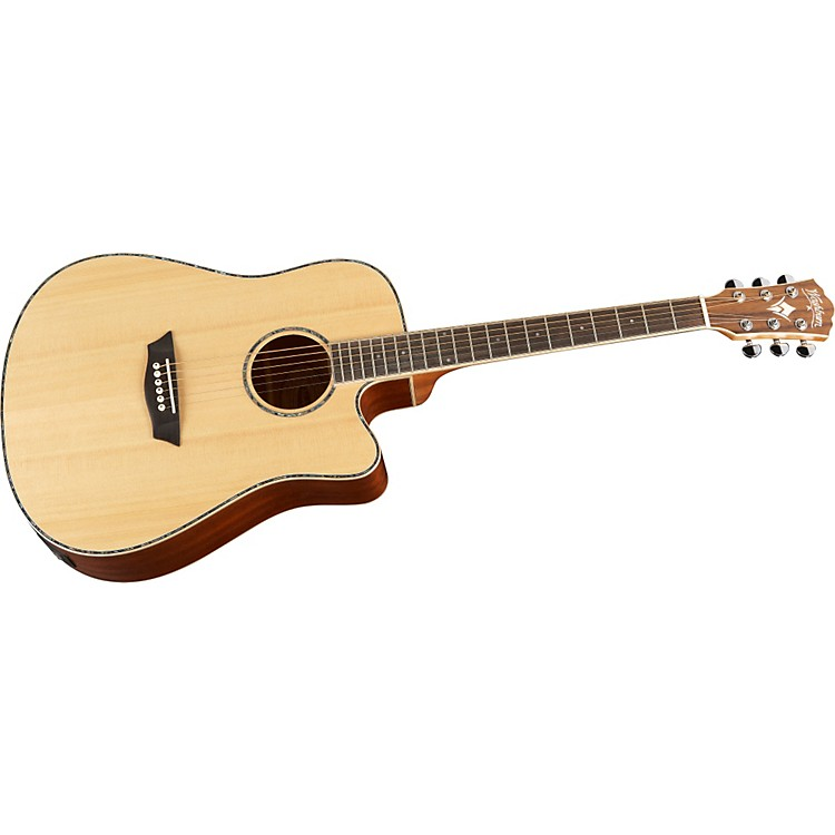 Washburn WD15SCE Solid Sitka Spruce Top Acoustic Cutaway Electric Dreadnought Mahogany Guitar with Fishman Preamp And Tuner Natural