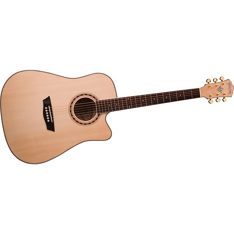 Washburn WD40SCE Solid Sitka Spruce Top Acoustic Cutaway Electric Dreadnought Flame Maple Guitar with Fishman Preamp And Tuner Natural
