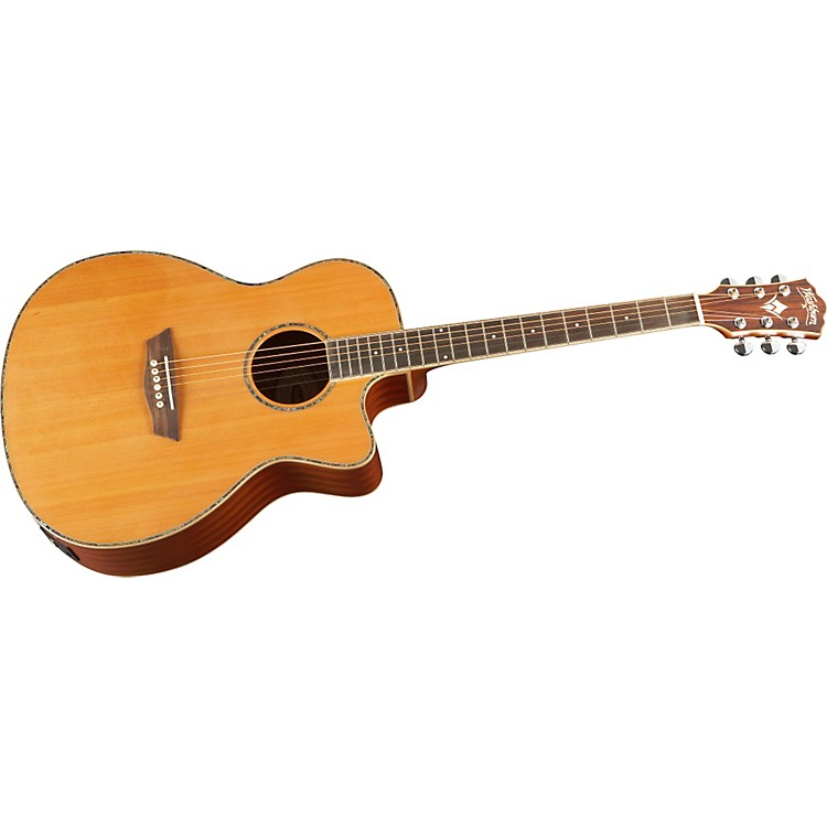 Washburn WG16SCE Solid Cedar Top Acoustic Cutaway Electric Grand Auditorium Mahogany Guitar with Fishman Preamp And Tuner Natural