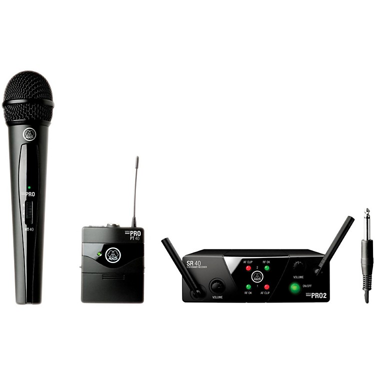 AKGWMS 40 Mini2 Vocal/Instrument Wireless Microphone Set with D8000M Handheld