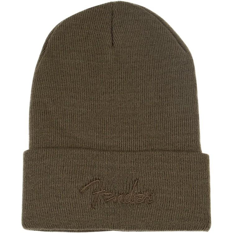 FenderWatchcap Knit Logo BeanieOlive