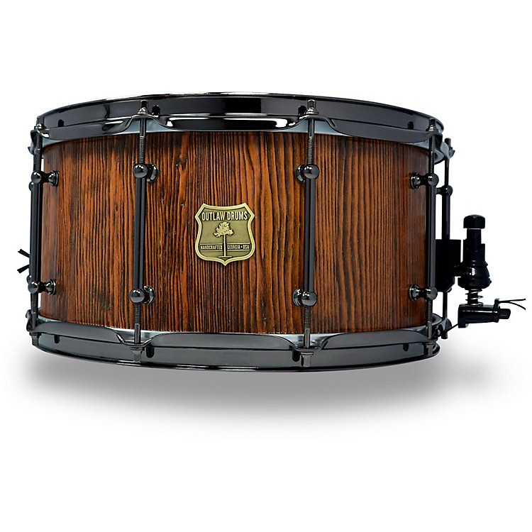 OUTLAW DRUMS Weathered Douglas Fir Stave Snare Drum with Black Chrome Hardware 14 x 7 in. Tobacco Glaze