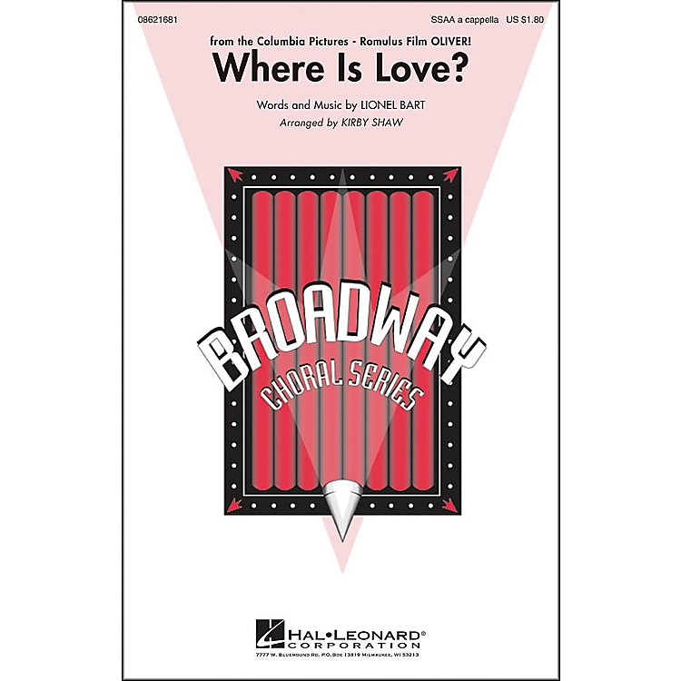 Hal Leonard Where Is Love? (From Oliver) SSAA