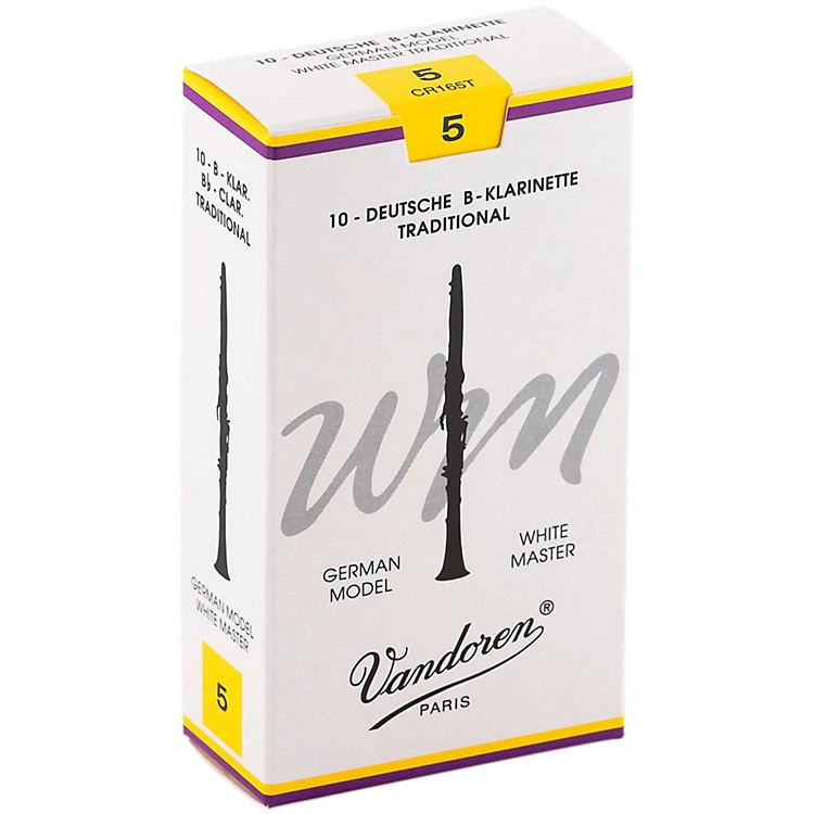 Vandoren White Master Traditional Bb Clarinet Reeds Box of 10, Strength 5
