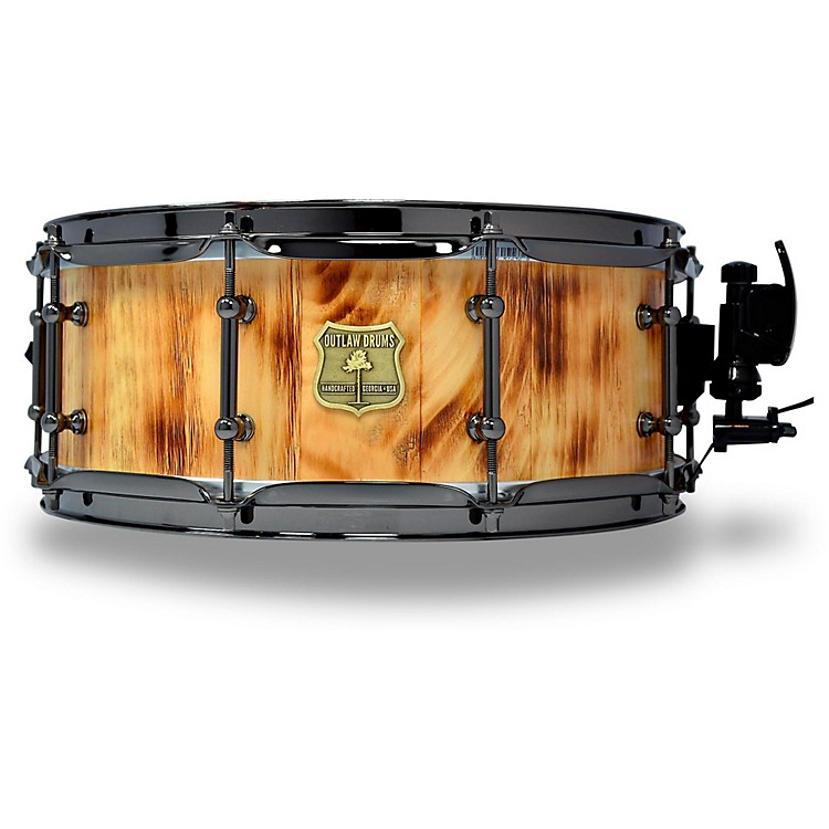 OUTLAW DRUMS White Pine Stave Snare Drum with Black Chrome Hardware 14 x 5.5 in. Forest Fire