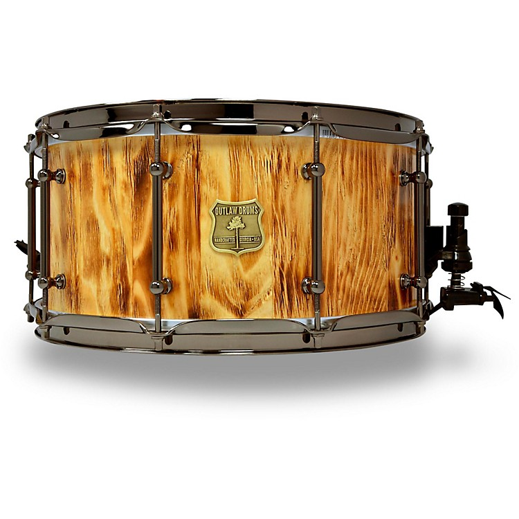 OUTLAW DRUMS White Pine Stave Snare Drum with Black Chrome Hardware 14 x 7 in. Forest Fire