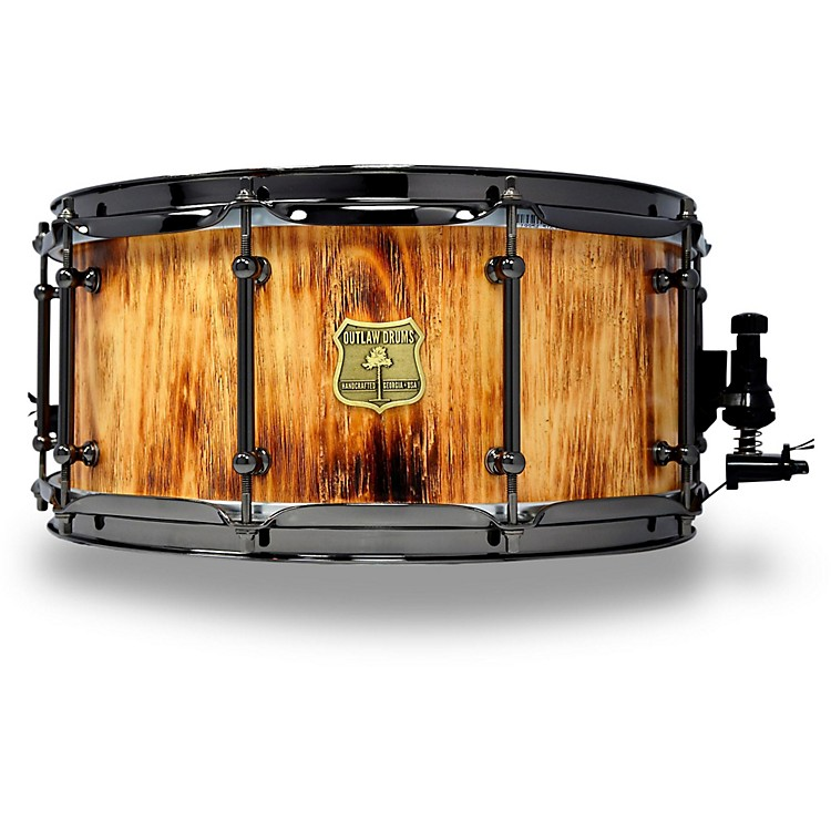 OUTLAW DRUMSWhite Pine Stave Snare Drum with Black Chrome Hardware14 x 6.5 in.Forest Fire