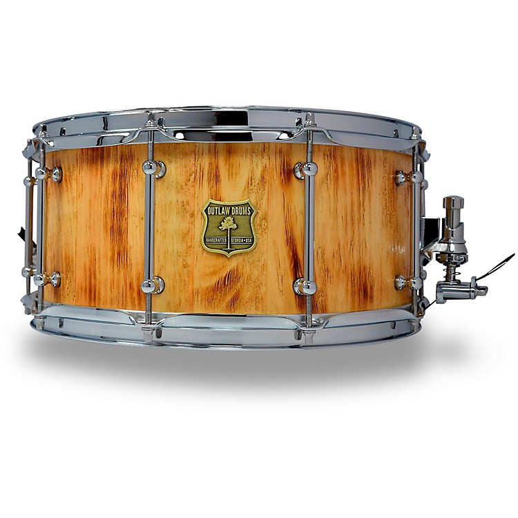 OUTLAW DRUMS White Pine Stave Snare Drum with Chrome Hardware 14 x 6.5 in. Forest Fire
