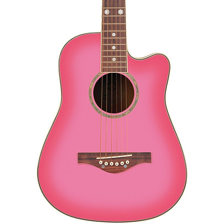 Daisy Rock Wildwood Short Scale Acoustic Guitar Pink Burst