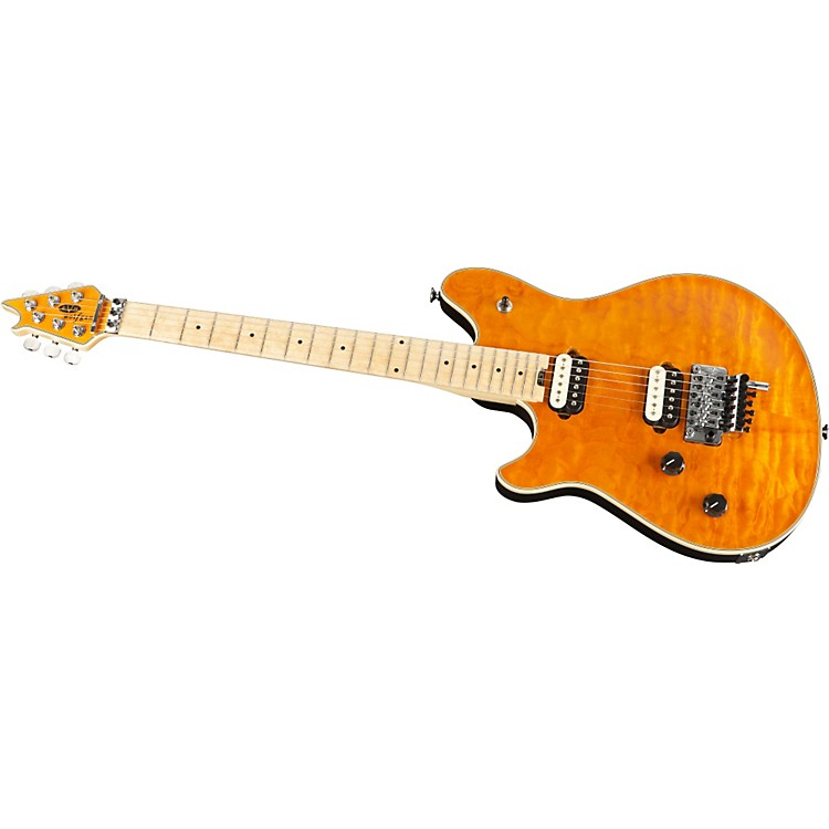 EVH Wolfgang Left-Handed Quilt Top Electric Guitar Transparent Amber Quilt Top