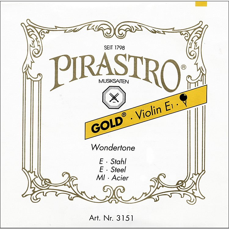 Pirastro Wondertone Gold Label Series Violin String Set 4/4 Size - E String Loop End