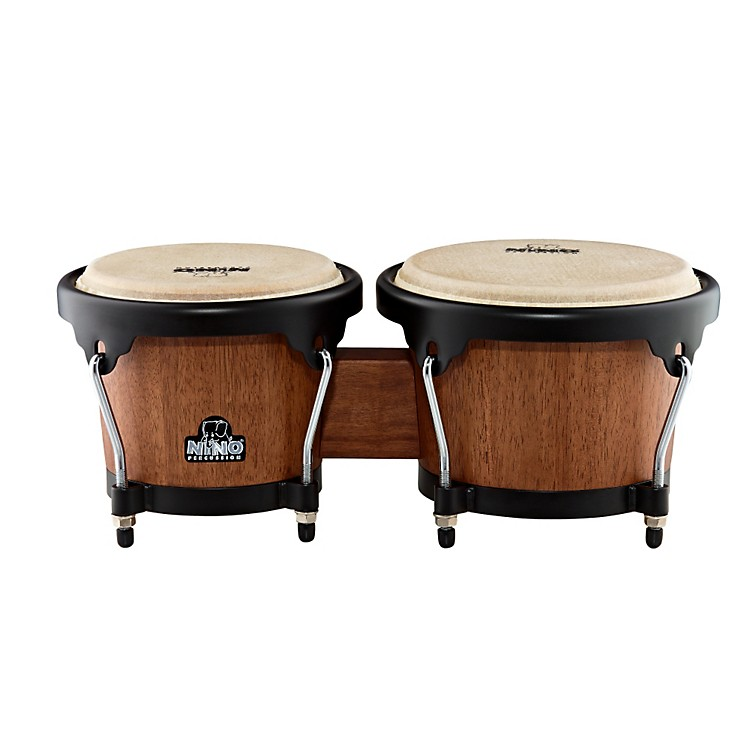 Nino Wood Bongos Walnut Brown/Black Hardware 6-1/2 & 7-1/2 in.