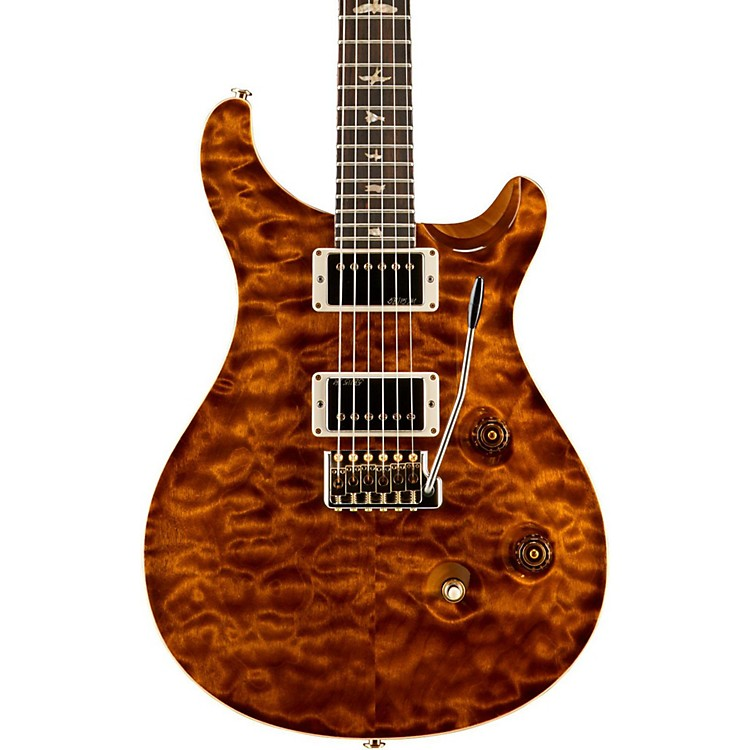 PRS Wood Library Custom 24 Quilted Maple 10 Top Electric Guitar Black Gold Top