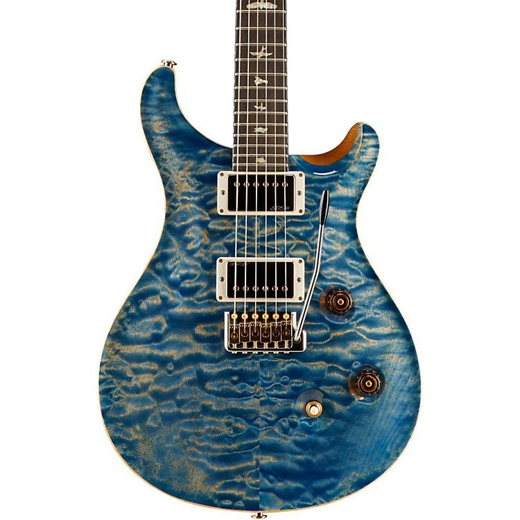 PRS Wood Library Custom 24 Quilted Maple 10 Top Electric Guitar Faded Blue Jean