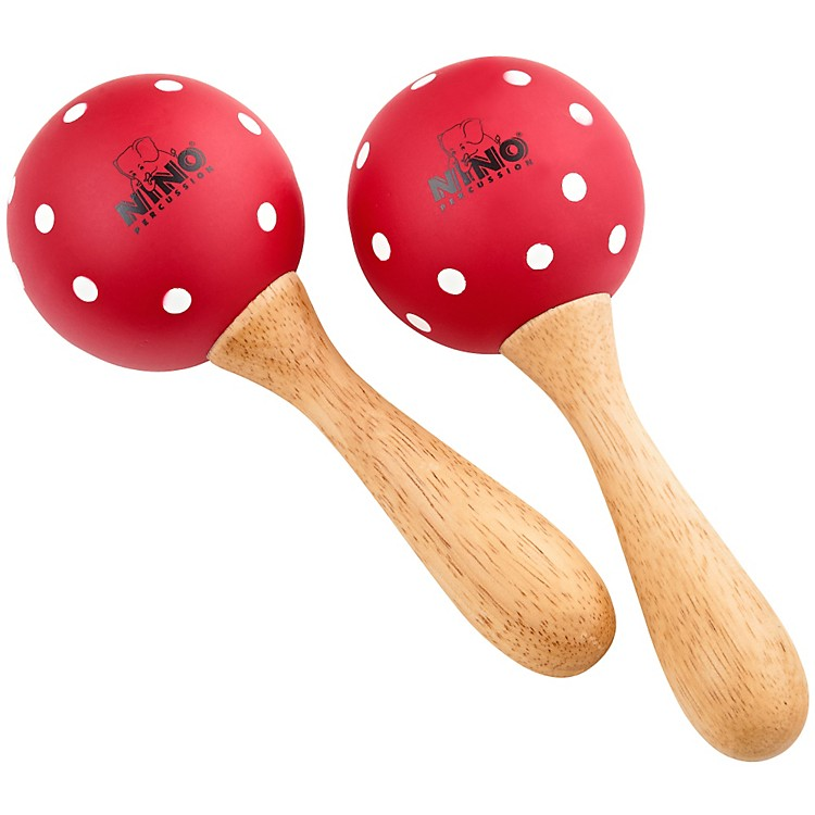 Nino Wood Maracas Red/White Polka Dots Medium