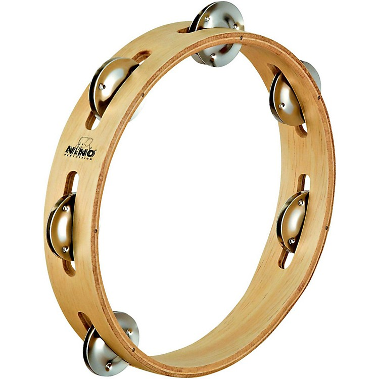 Nino Wood Tambourine 1 Row Natural 8 Inch