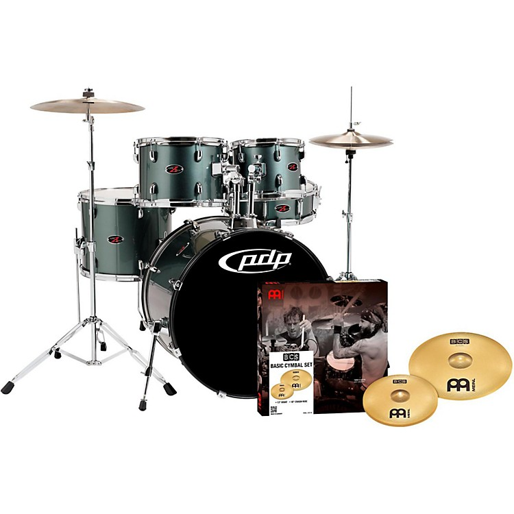 PDPZ5 5-Piece Drumset with Meinl CymbalsGray Metal