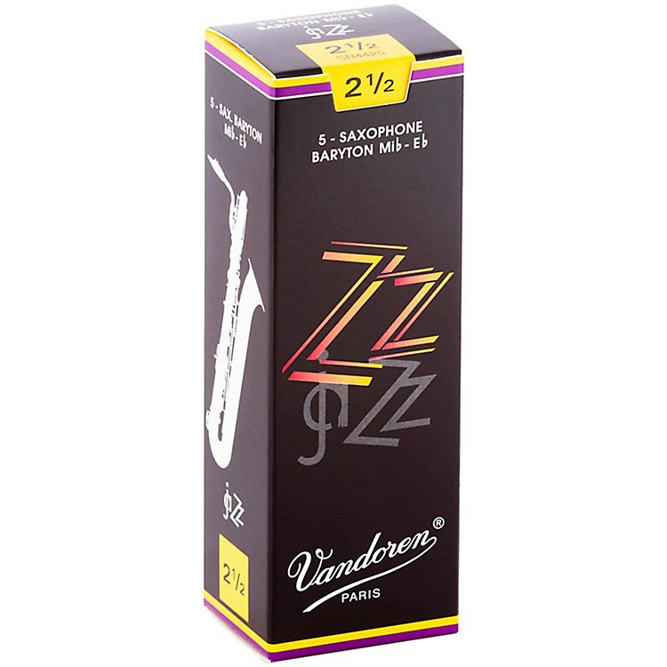 VandorenZZ Baritone Saxophone ReedsStrength 2.5, Box of 5