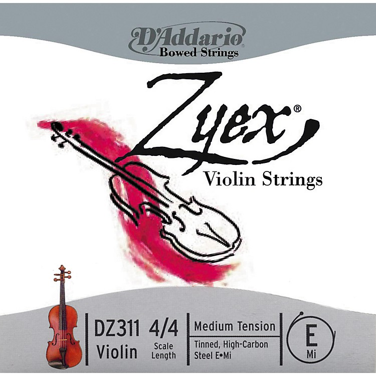 D'Addario Zyex 4/4 Violin E String Steel  Medium