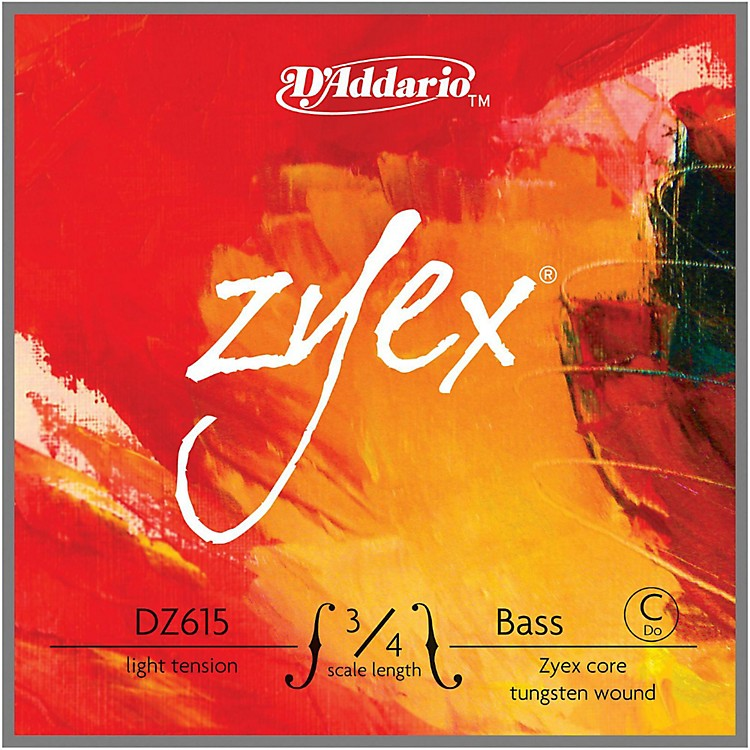 D'Addario Zyex Series Double Bass Low C (Extended E) String 3/4 Size Light
