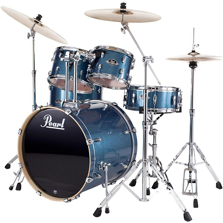 PearlePRO Powered by Export Acoustic Electric New Fusion DrumsetAqua Blue Glitter