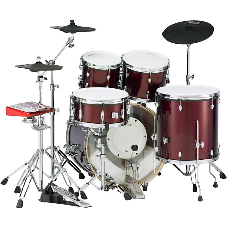 PearlePRO Powered by Export Acoustic Electric New Fusion DrumsetWine Red