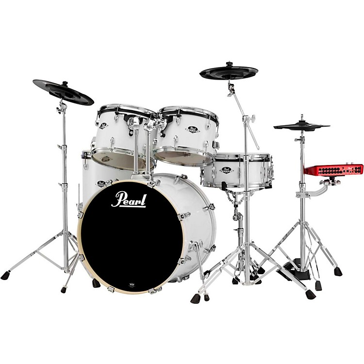 PearlePRO Powered by Export Acoustic Electric Standard DrumsetPure White
