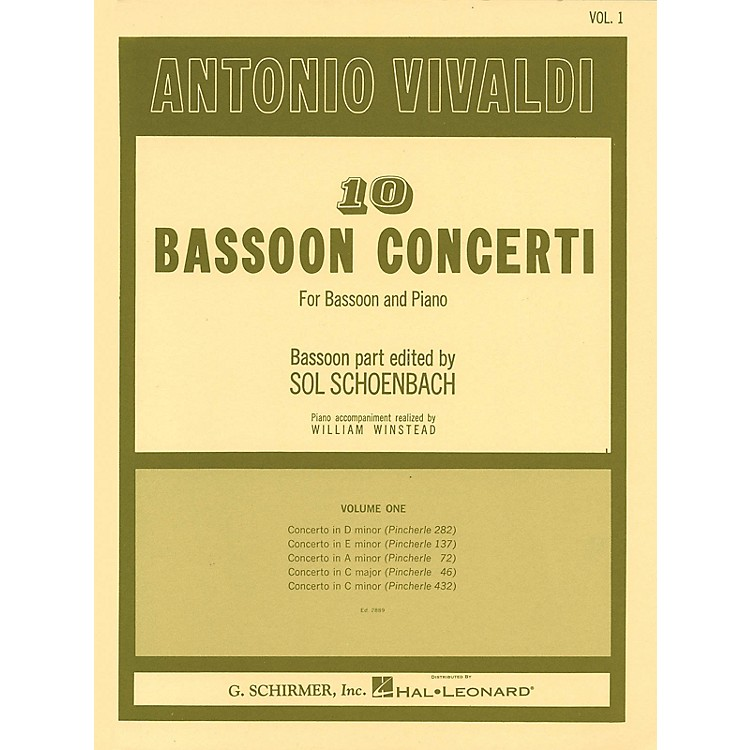 G. Schirmer 10 Bassoon Concerti, Vol. 1 Woodwind Solo Series by Vivaldi Edited by Sol Schoenbach
