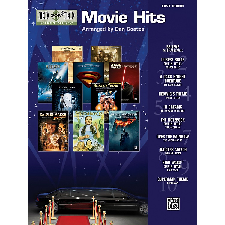 Alfred10 for 10 Sheet Music Movie Hits Easy Piano