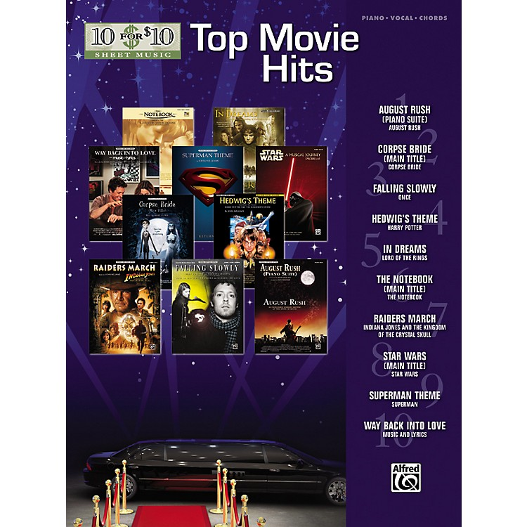 Alfred10 for 10 Sheet Music Top Movie Hits Piano/Vocal/Chords