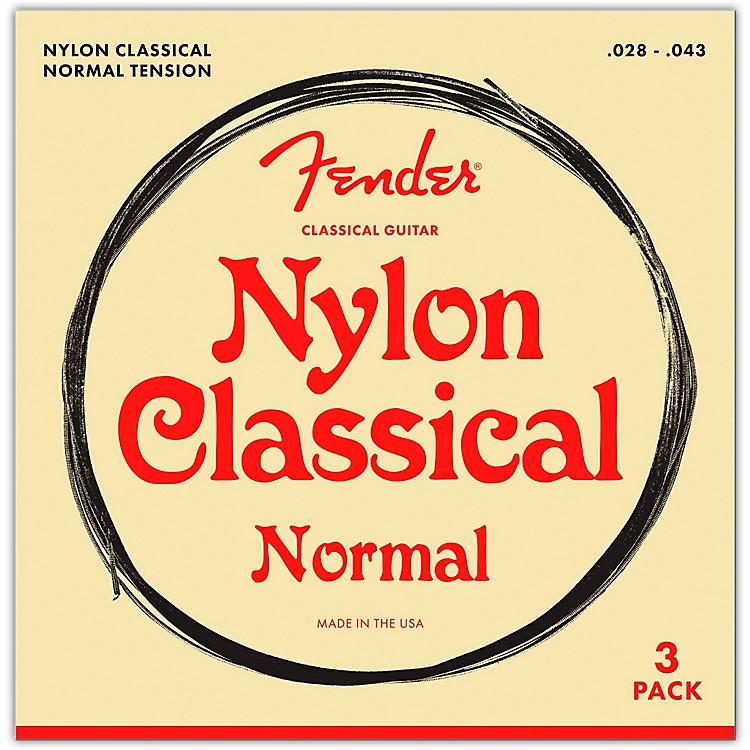 Fender100 Clear Nylon Tie End Guitar Strings, 3-Pack