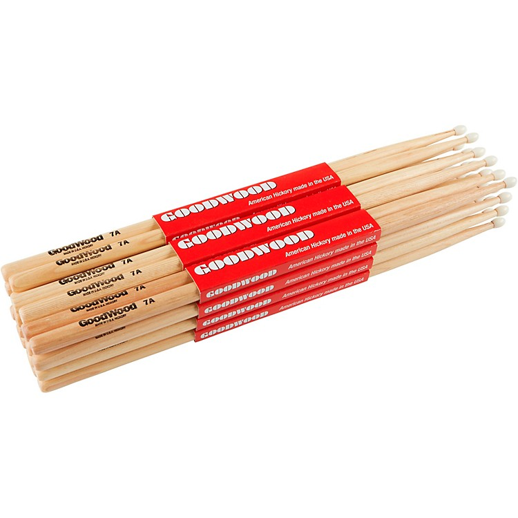 Goodwood 12-Pack Drumsticks 7A Nylon