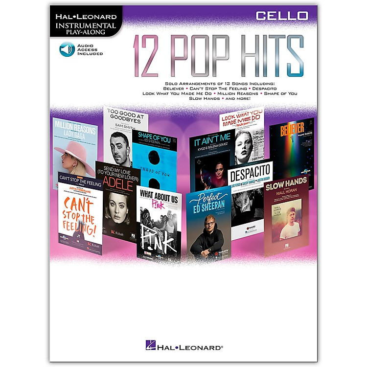Hal Leonard 12 Pop Hits for Cello Book/Audio Online