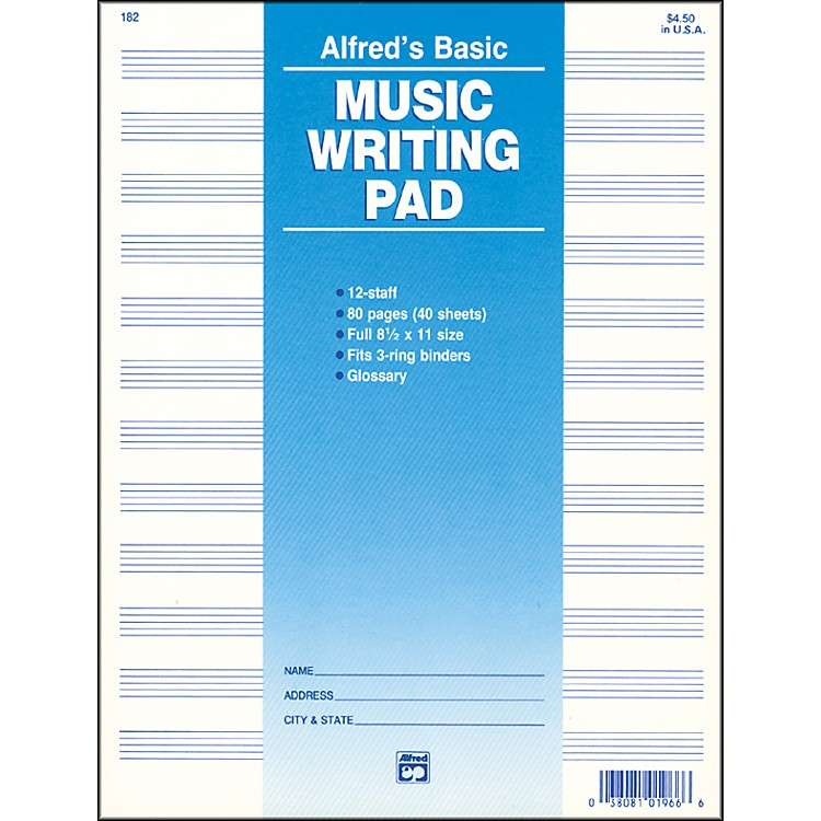 Alfred 12 Stave Music Writing Pad (8 1/2
