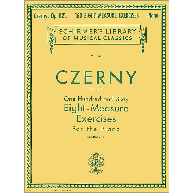 G. Schirmer160 Eight-Measure Exercises Op 821 Piano By Czerny